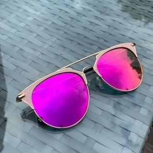 Pink mirrored sunglasses aviator gold NEW